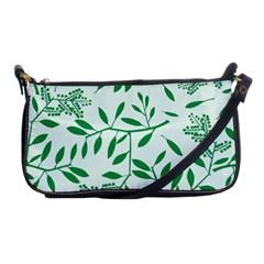 Leaves Foliage Green Wallpaper Shoulder Clutch Bags by Onesevenart