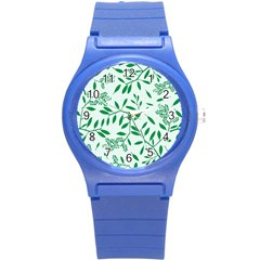 Leaves Foliage Green Wallpaper Round Plastic Sport Watch (s) by Onesevenart