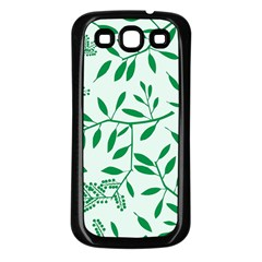 Leaves Foliage Green Wallpaper Samsung Galaxy S3 Back Case (black) by Onesevenart