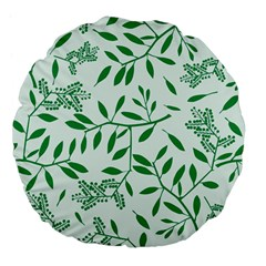 Leaves Foliage Green Wallpaper Large 18  Premium Flano Round Cushions by Onesevenart