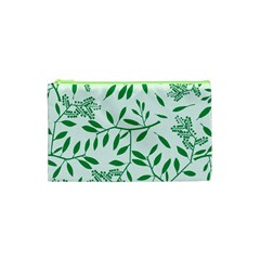 Leaves Foliage Green Wallpaper Cosmetic Bag (xs) by Onesevenart