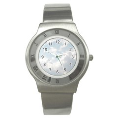 Light Nature Sky Sunny Clouds Stainless Steel Watch by Onesevenart