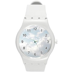 Light Nature Sky Sunny Clouds Round Plastic Sport Watch (m) by Onesevenart