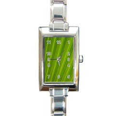 Green Leaf Pattern Plant Rectangle Italian Charm Watch by Onesevenart