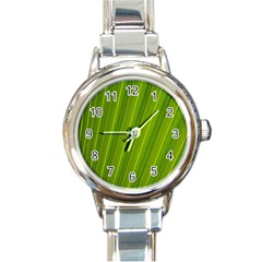 Green Leaf Pattern Plant Round Italian Charm Watch by Onesevenart