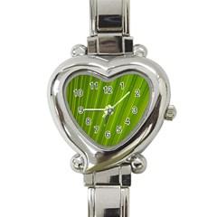 Green Leaf Pattern Plant Heart Italian Charm Watch by Onesevenart
