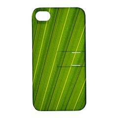 Green Leaf Pattern Plant Apple Iphone 4/4s Hardshell Case With Stand by Onesevenart