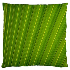 Green Leaf Pattern Plant Large Flano Cushion Case (one Side) by Onesevenart