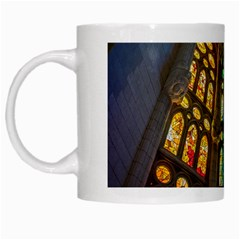 Leopard Barcelona Stained Glass Colorful Glass White Mugs by Onesevenart
