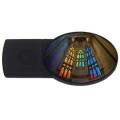 Leopard Barcelona Stained Glass Colorful Glass Usb Flash Drive Oval (4 Gb) by Onesevenart