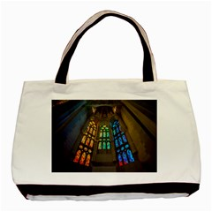Leopard Barcelona Stained Glass Colorful Glass Basic Tote Bag by Onesevenart