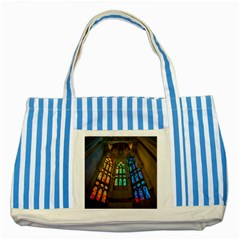 Leopard Barcelona Stained Glass Colorful Glass Striped Blue Tote Bag by Onesevenart