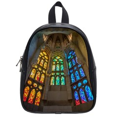 Leopard Barcelona Stained Glass Colorful Glass School Bags (small)  by Onesevenart