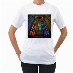 Leopard Barcelona Stained Glass Colorful Glass Women s T Shirt (white)  by Onesevenart