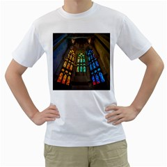 Leopard Barcelona Stained Glass Colorful Glass Men s T Shirt (white)  by Onesevenart