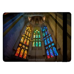 Leopard Barcelona Stained Glass Colorful Glass Samsung Galaxy Tab Pro 12 2  Flip Case by Onesevenart