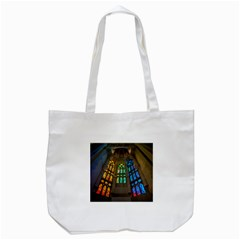 Leopard Barcelona Stained Glass Colorful Glass Tote Bag (white) by Onesevenart