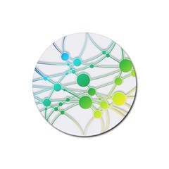 Network Connection Structure Knot Rubber Coaster (round)  by Onesevenart