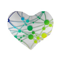 Network Connection Structure Knot Standard 16  Premium Flano Heart Shape Cushions by Onesevenart