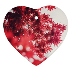 Maple Leaves Red Autumn Fall Ornament (heart) by Onesevenart