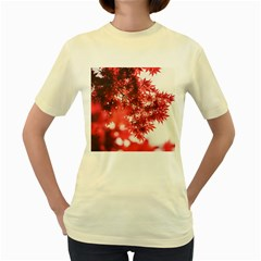 Maple Leaves Red Autumn Fall Women s Yellow T Shirt by Onesevenart