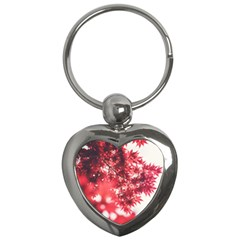Maple Leaves Red Autumn Fall Key Chains (heart)  by Onesevenart