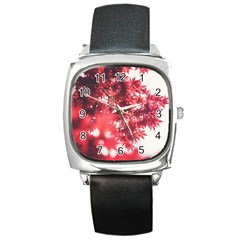 Maple Leaves Red Autumn Fall Square Metal Watch by Onesevenart