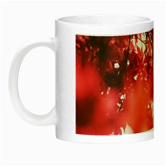 Maple Leaves Red Autumn Fall Night Luminous Mugs by Onesevenart