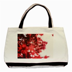 Maple Leaves Red Autumn Fall Basic Tote Bag by Onesevenart