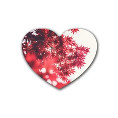 Maple Leaves Red Autumn Fall Rubber Coaster (heart)  by Onesevenart