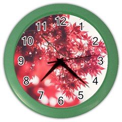 Maple Leaves Red Autumn Fall Color Wall Clocks by Onesevenart