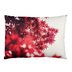 Maple Leaves Red Autumn Fall Pillow Case by Onesevenart