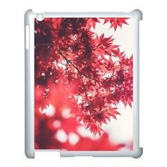 Maple Leaves Red Autumn Fall Apple Ipad 3/4 Case (white) by Onesevenart