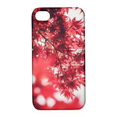 Maple Leaves Red Autumn Fall Apple Iphone 4/4s Hardshell Case With Stand by Onesevenart