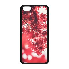 Maple Leaves Red Autumn Fall Apple Iphone 5c Seamless Case (black) by Onesevenart