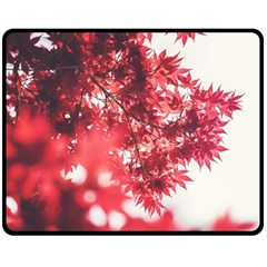 Maple Leaves Red Autumn Fall Double Sided Fleece Blanket (medium)  by Onesevenart