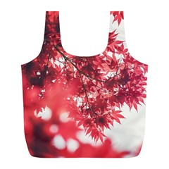 Maple Leaves Red Autumn Fall Full Print Recycle Bags (l)  by Onesevenart