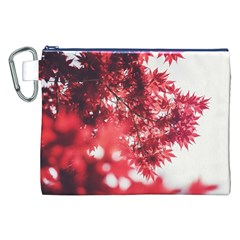 Maple Leaves Red Autumn Fall Canvas Cosmetic Bag (xxl) by Onesevenart