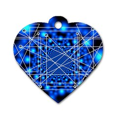 Network Connection Structure Knot Dog Tag Heart (two Sides) by Onesevenart