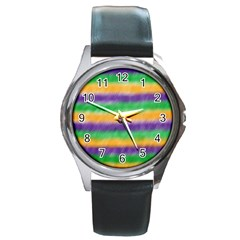 Mardi Gras Strip Tie Die Round Metal Watch by PhotoNOLA