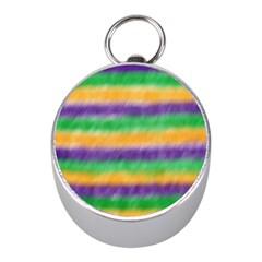 Mardi Gras Strip Tie Die Mini Silver Compasses by PhotoNOLA