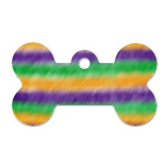 Mardi Gras Strip Tie Die Dog Tag Bone (Two Sides)