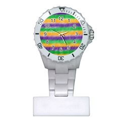 Mardi Gras Strip Tie Die Plastic Nurses Watch by PhotoNOLA