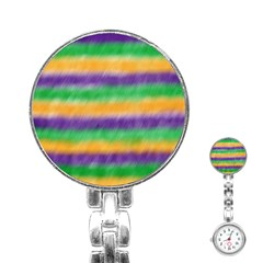 Mardi Gras Strip Tie Die Stainless Steel Nurses Watch by PhotoNOLA