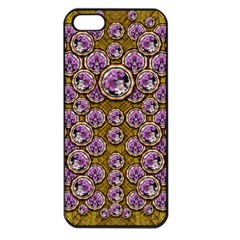 Gold Plates With Magic Flowers Raining Down Apple Iphone 5 Seamless Case (black) by pepitasart