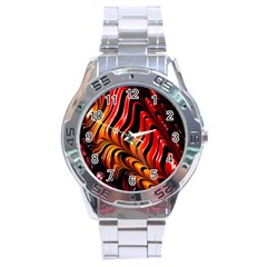 Fractal Mathematics Abstract Stainless Steel Analogue Watch by Onesevenart