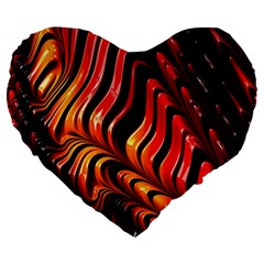 Fractal Mathematics Abstract Large 19  Premium Heart Shape Cushions by Onesevenart