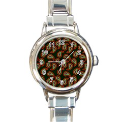 Pattern Abstract Paisley Swirls Round Italian Charm Watch by Onesevenart