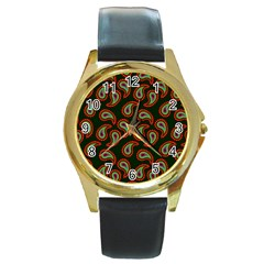 Pattern Abstract Paisley Swirls Round Gold Metal Watch by Onesevenart