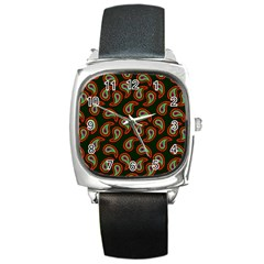 Pattern Abstract Paisley Swirls Square Metal Watch by Onesevenart
